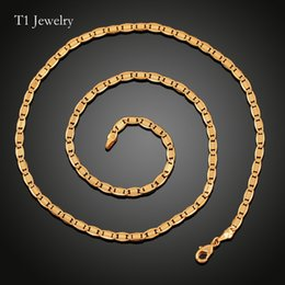 Wholesale African Christmas Ornaments - European and American ornaments Mens Figaro Chain 3mm-60cm Necklaces retro Chains 18k Gold Plated Worldwide Fashion Jewelry Korea chains