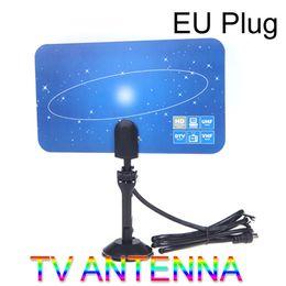 Wholesale Hd Tv Indoor - Digital Indoor TV Antenna HDTV DTV HD VHF UHF Flat Design High Gain EU Plug