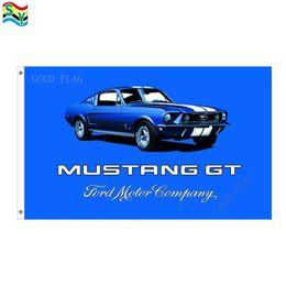 confeti de plata al por mayor Rebajas Mustang gt flags banner Tamaño 3x5FT 90 * 150cm con arandela metálica, bandera exterior