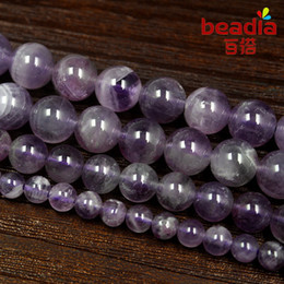 "Wholesale Amethyst 15 - Free shipping Round Mixed 4-10mm Purple Color Amethyst Beads Natural Stone Beads Strand 15"" Diy Bracelet Necklace For Jewelry"