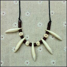 Wholesale Tribal Beads Wholesale - 2016 new teeth bone beads Chief Charm Pendant vintage adjustablt ox bone wolf teeth Tribal chief choker necklace Aboriginal Jewelry 48pcs