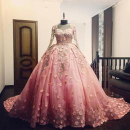 Wholesale Strapless Luxurious Satin - Luxurious Pink Quinceanera Dresses Long Sleeve 3D Flower Applique Zipper Ball Gown Prom Arabic Formal Evening Wear Vestido De 15 Anos Custom