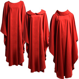Wholesale Religion Free - Holy Religion Costumes for Clergy Red Catholic Church Priests Solid Chasuble Vestment 3 styles Religions Formal Robe