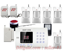 Wholesale Wireless Motion Detector Alarm System - Wireless PIR Motion Detector Door Windows Sensor Home Security Burglar Alarm System Auto Dialing Dialer Easy DIY Free Shipping
