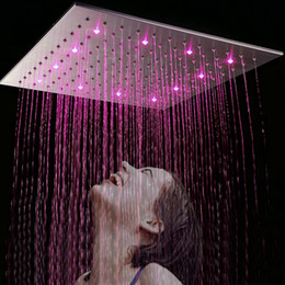 Wholesale Hydro Steel - China Facoty Supply 20 inch Bath Square Stainless Steel Brushed Finish LED Hydro Power Head Shower Ducha 50cm * 50cm Head Rain Shower