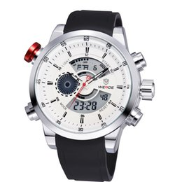 Wholesale Divers Men - WEIDE Men Wristwatches Famous Brand Rubber Strap Diver Waterproof Hour Item Analog Digital Sporty Military Watches For Men 3401