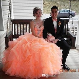 Wholesale Princess Prom Puffy Dress - Gorgeous Coral Princess Ball Gown Quinceanera Dresses Spaghetti Straps Sparkly Rhinestones Beaded Evening Gowns Ruffles Puffy Prom Dresses