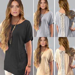 Wholesale plain tee shirts wholesale - Hot Sale Summer Ladies Womens Casual Shirt Plain Simple Design Short Sleeve Lace Back Loose T-Shirt Tees Slim Tops Plus Size S-2XL