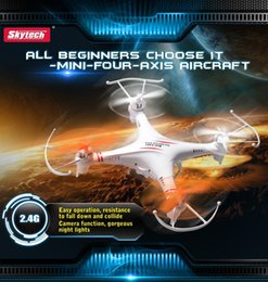 Wholesale Toy Helicopter Remote Control Wholesale - Skytech M62 2.4G 4CH 6-Axis RC Helicopter Remote Control Quadcopter Toy Drone without or With Camera Dron Light Version Color White 10pcs