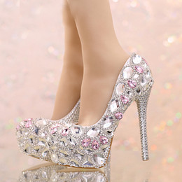 Wholesale Pink Prom Shoes - 2016 Silver Rhinestone Wedding Shoes Round Toe Bridal Shoes with Pink Crystal Platform Prom Shoes Graduation Party High Heels
