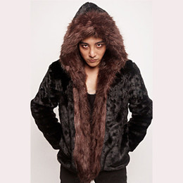 Wholesale brown fox fur collar - Wholesale- 2016 Black Men Fake Rex Rabbit Fur Coats Faux Brown Fox Fur Collar New Fashion Warm Winter Hooded Fur Jackets Luxury Overcoats