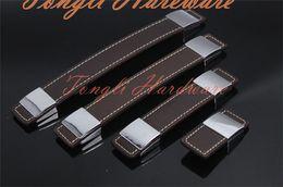 Wholesale Alta calidad de aleación de zinc de cuero manija de la puerta sola perilla del gabinete del cajón del gabinete del tirón del mueble fila del tono