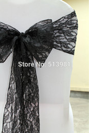Wholesale Best Chair Sashes Wedding - Wholesale-30pcs black Lace Chair Sash Wedding christmas party Decoration,big discount ,best custom service high quality and free shipping