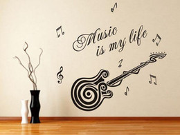 Wholesale Guitar Graphics - Free shipping Removable Wallpaper Stickers Guitar Decoration Interior Design Lettering Music Boys Wall Stickers