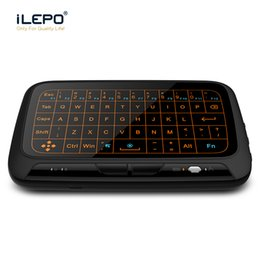 Wholesale Pc Screen Keyboard - H18 Full Screen Touching Wireless Mouse 2.4G Backlight Fly Air Mouse Comfortable Keyboard Rechargeable Remote Control for PC,Android TV
