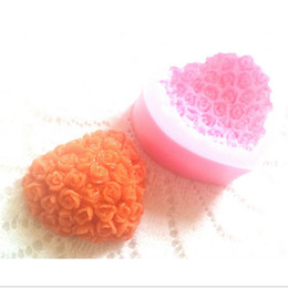 Wholesale Silicone Heart Soap Mold - Wholesale-3D Sweet Heart Rose Design Silicone Mould Heart Rose Cookie Soap Jelly Pudding Mold Sugarcraft Candy Cake Decorating Tool