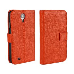 Wholesale Galaxy S4 Cover Genuine - For Samsung Galaxy S4 i9500 Elegant Lichee Texture Genuine Wallet Leather Case Cover