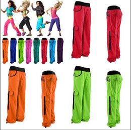 Wholesale nylon elastic ribbon - S M L woman bottoms woman fitness wear women Electric Cargo Pants 10 colors free shipping