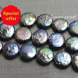 Wholesale Black Loose Freshwater Pearls - Pearl Jewelry Loose Beads Genuine Freshwater Coin Pearls Peacock Purple Loose Beads 11.5-12.5mm 15 Inches Bridal Design Wedding