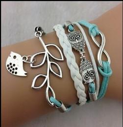Wholesale Lucky Leaf Branch Bird - Owls & Lucky Branch Leaf and Lovely Bird Bracelets Jewelry Leather Infinity Bracelets Multi pick style Leather Bracelets 2016 Best Selling