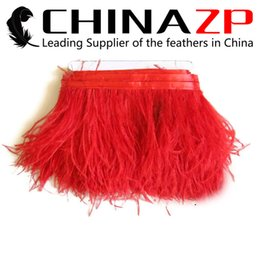 Wholesale wholesale factory dresses - Gold Manufacturer CHINAZP Crafts Factory 10yards lot 10~15c (4~6inch) in Width Good Quality Dyed Red Ostrich Fringe Trim Feather for Dresses