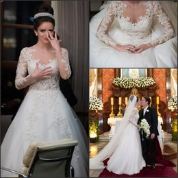 Wholesale Lace Back Covered Formal Dress - Romatic Sparkly Wedding Dresses 2015 Lace Appliques Long Sleeves A Line With Beads Button Back Formal Bridal Gowns Vestido de Noiva EV0226