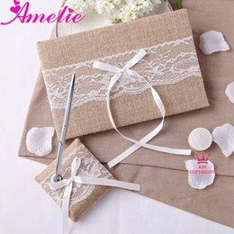 Wholesale Guestbook Sets - Wholesale-Retail With Free Shipping Wedding Collection With Lace Linen Wedding Guestbook And Pen Holder Set