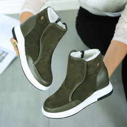 Wholesale high wedge hidden heels - 2017 New Hidden Wedge Heels Promotion Womens Snow Boots Australia JOJOAGG Leather Boots Dichotomanthes Non Slip Bottom Shoes