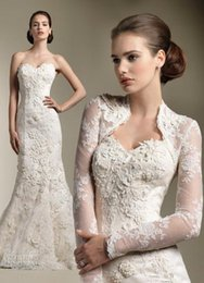 Wholesale Model Bolero Wedding Gown - Wholesale - Mermaid Wedding Dresses with Bolero 2015 Ivory Lace Wedding Gowns High Quality Appliques New Sweetheart Bridal Gowns with Long