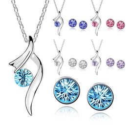 Wholesale Diamond Crystal Stud Earing - Wholesale-Women's Artificial Crystal Earing and Necklace Sets Imitation Diamond Jewelry Sets Suit Necklace Studs Earrings Set 5 Colors