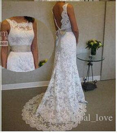 Wholesale Wedding Sheer Satin Ribbon - 2017 Vintage Full Lace Beach Wedding Dresses Blackless Sheer Neck Wedding Dress Sweep Train Sleeveless Ribbon Bow Plus Size Bridal Gowns