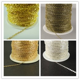 Wholesale Silver Chain Bulk 2mm - New Factory Price 20M 2mm Silver Gold Bronze Plated Brass Metal Chain Flat Cable Chain Jewelry Necklace Findings Sale in Bulks