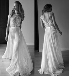 Wholesale simple flowing wedding dresses - 2017 Vintage Bohemian A Line Lace Wedding Dresses Exquisite Beading Sequins Flow Chiffon Bridal Gowns Sheer Neck Cap Sleeves Backless