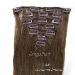 "Wholesale Hair Chestnut - 5sets 15""-26"" 7pcs 8# Chestnut Brown Clip in Hair Brazilian Malaysian Peruvian Remy Human Hair Extension Straight Bundles Free Shipping DHL"