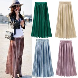 Wholesale straight long skirts women - Wholesale- Women Lady Clothing Double Layer Pleated Retro Long Maxi Skirts Elastic High Waist Skirt NEW