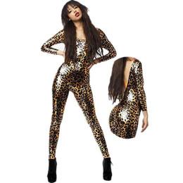 Wholesale Jumpsuits Women Leopard - Wholesale- Women Leopard Print Jumpsuit Vinyl Leather 2015 Fashion Sexy Latex Catsuit Ladies Bodysuit W7951