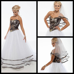 Wholesale White Dress Design Wedding Muslims - Best Selling Sweetheart Strapless Camo Wedding Dresses White Tulle A Line Cheap Camo Wedding Dress 2015 New Design