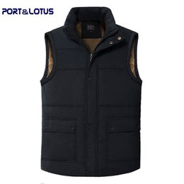 Wholesale Black Lotus Clothing - Fall-Port&Lotus Men Vest New Winter Fashion Casual Pure Color Striped Stand Collar Outdoor Active Thick men Clothing Men Clothes 018