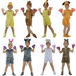Wholesale Kids Leopard Halloween Costume - Kids Children Cosplay Animal Theme Costume Duck snake Cock Pug Dog Donkey Elephant Sheep Leopard Short Sleeved Clothing Birthday Party Gift