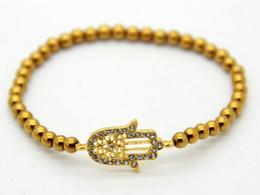 Wholesale Rhinestone Chain 4mm - New Design Small Exquisite Crystal Fatima Hand Hamsa Infinity Ethic Lucky Bracelet with 4mm Hematite beads