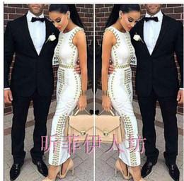 Wholesale Bandage Dress Kim Kardashian - Wholesale-2016 Top Quality New Arrival white sleeveless studded beaded long maxi rayon Bandage Dress Celebrity dress kim kardashian dress