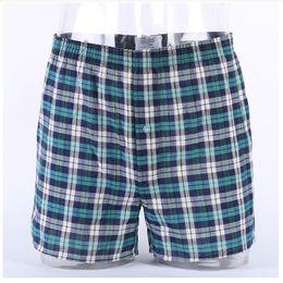 Wholesale Mens Classic Boxers Xl - Classic Plaid Men's Boxers Cotton Mens Underwear Trunks Woven Homme Arrow Panties Boxer with Elastic Waistband Shorts Loose men