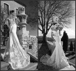 Wholesale Tarik Ediz Bride - Tarik Ediz Wedding Dresses 2016 Off Shoulder Lace Bride Dress Mermaid Sheath Long Wedding Gown Custom Vestido De Novia Spring Wear SHJ