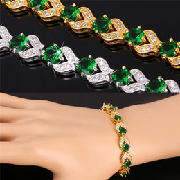 Wholesale Red Chains - U7 Romantic Charm Bracelet Gold Platinum Plated Synthetic Emerald 4 Colors Cubic Zirconia Women Fashion Jewelry Perfect Valentines Gift H986