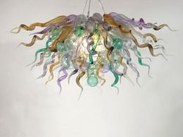 Iluminação de vidro on-line-Fonte de Led 100% Mão Soprado Dale Chihuly Murano Arte Vidro Borosilicato Lâmpada Do Quarto Lustre Luminárias