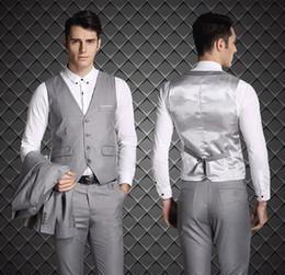 Esmoquin de ajuste europeo online-2015 estilo europeo slim fit novio esmoquin gris claro por encargo padrinos de boda hombres trajes de boda Prom smokinges (Jacket + Pants + Vest + Tie + Hanky)
