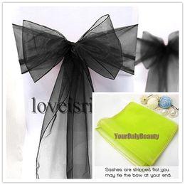 "Wholesale Black Fabric Chair - Free shipping-Wholesale-25pcs Black 8"" (20cm) W x 108"" (275cm) L Sheer Organza Sashes Wedding Party Banquet Chair Organza Sash Bow"