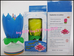 Wholesale Amazing Birthday - Amazing Romantic Musical Lotus Rotating Happy Birthday Candle red pink yellow purple blue can choose