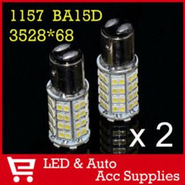 Wholesale P21 Bulb - 2 x 1157 68 SMD 3528 LED LIGHT BA15D P21 4W Car Backup Turn Signal Brake Parking Lights BULB Lamp White 12V DC