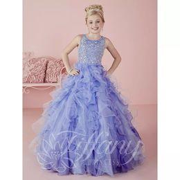 Wholesale Organza Chiffon Flower Girl Dresses - 2018 Princess Ball Gown Party Dress for Kids Fashion Little Girls Pageant Dresses Ruffles Organza Sequins Flower Girls Dress Formal Gown C61